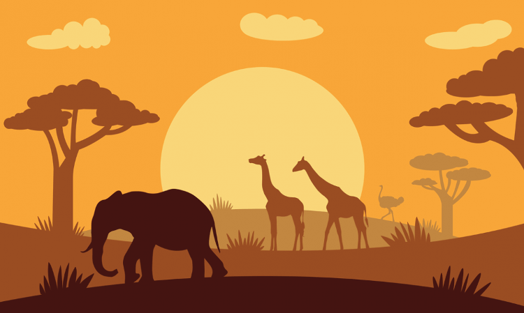 Flag image for African Animals Silhouette