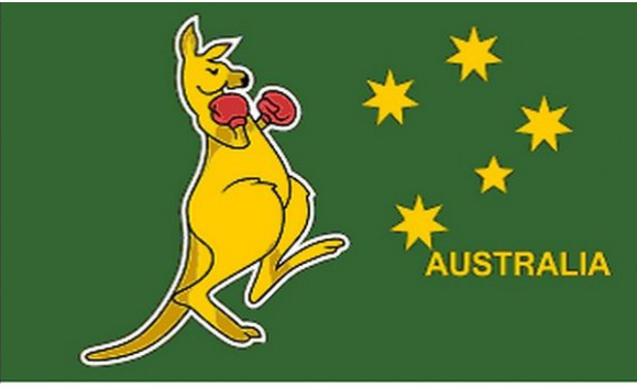 Design of the Boxing Kangaroo 150x100mm Desk Flag