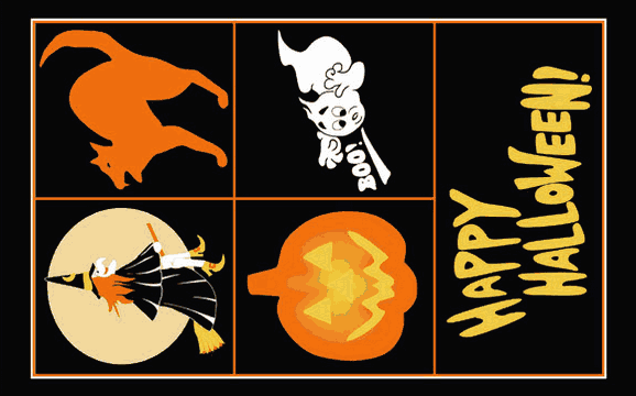 Design of the Happy Halloween Black 1500x900mm Flag