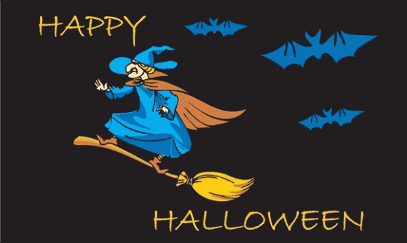Design of the Halloween Blue Witch 1500x900mm Flag