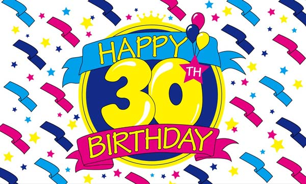 Design of the Happy Birthday 30 1500x900mm Flag