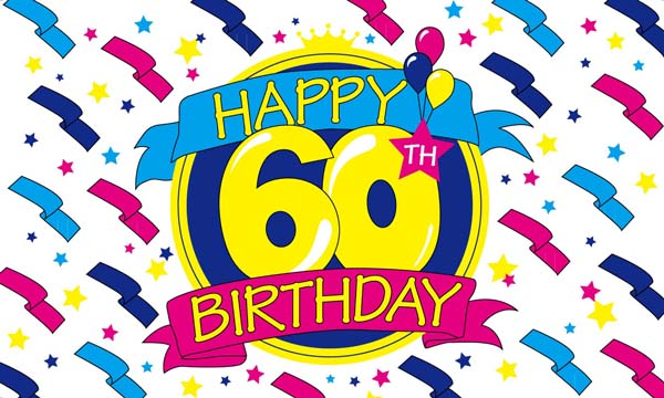 Design of the Happy Birthday 60 1500x900mm Flag