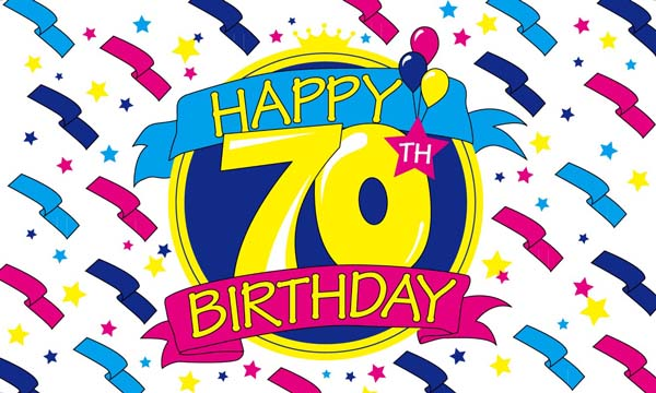 Design of the Happy Birthday 70 1500x900mm Flag