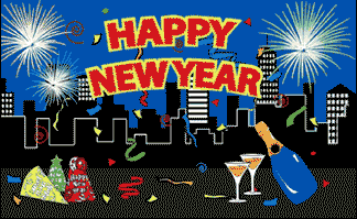 Design of the Happy New Year City Silhouette 1500x900mm Flag