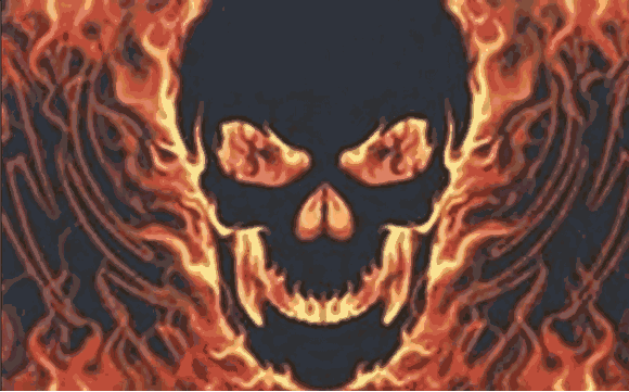 Design of the Skull with Fire 1500x900mm Flag