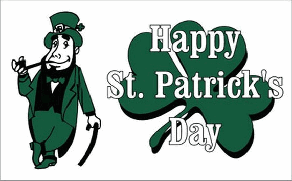 Design of the Happy Saint Patricks Green White 1500x900mm Flag