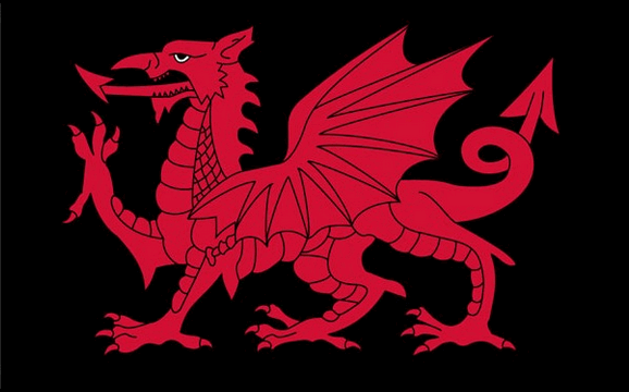 Flag image for Wales Dragon on black