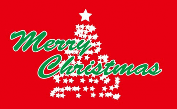 Flag image for Merry Christmas in Green on Red Background