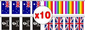 String of ten (10) flags measuring 230x150mm