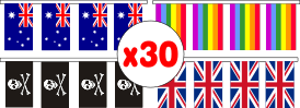String of thirty (30) flags measuring 230x150mm