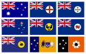 Set of 9 large Flags Australia National and States