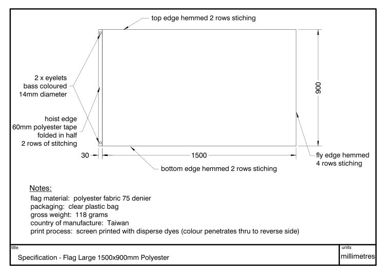 Diagram showing dimensions and specification of a Flag 1500x900mm