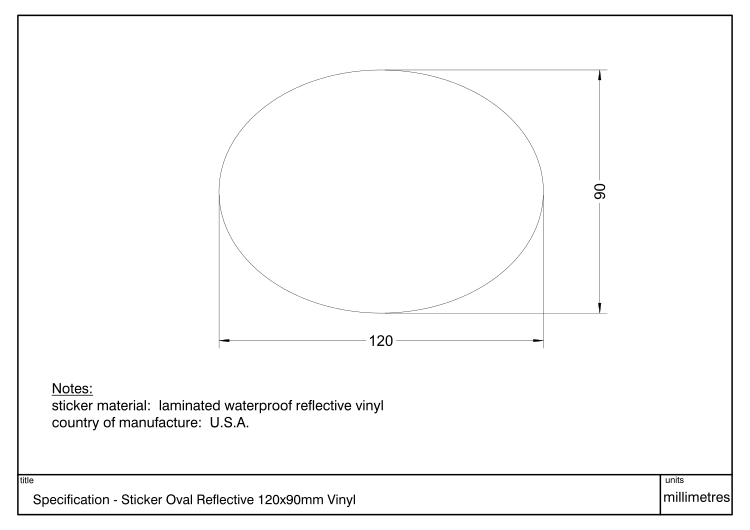 Diagram showing dimensions and specification of a Decal Oval Reflect 120x90mm