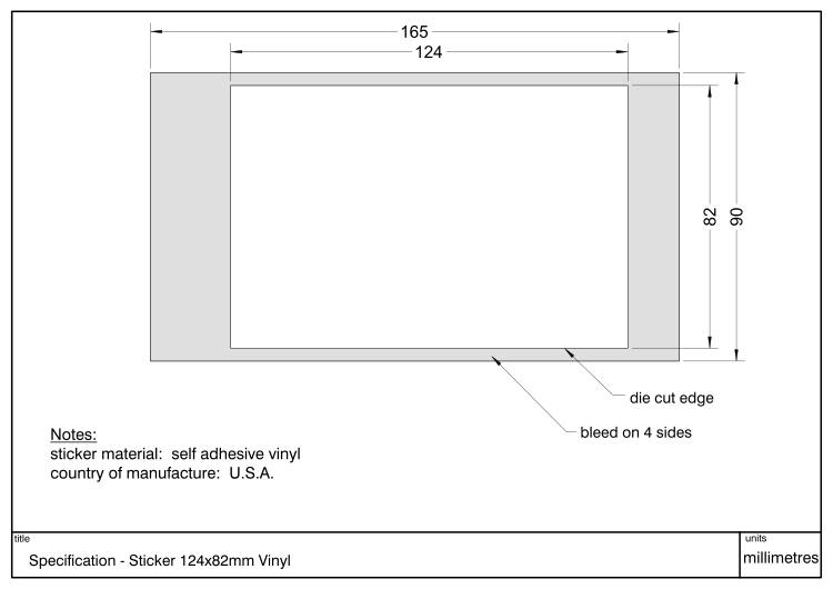Diagram showing dimensions and specification of a Decal 124x82mm