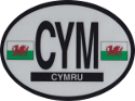 Design of the UK Wales 120x90mm Decal Oval Reflect