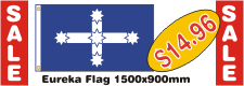 Eureka Flag Promotion. On sale for only fourteen dollars and ninety six cents