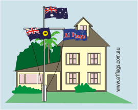 Protocol Australian Flag on Yardarm with State and House Flags